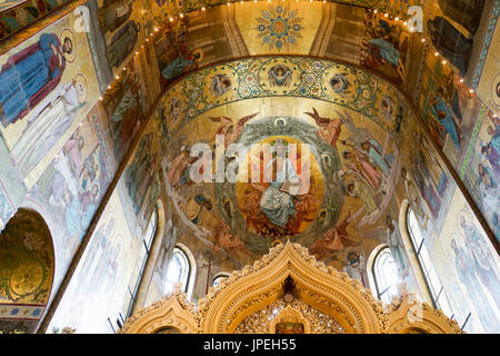 Interior of the Church of the Savior on Spilled Blood, St. Petersburg, Russia. - Stock Photo