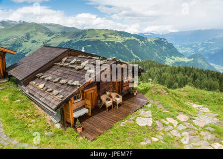 The Gams Hut mountain refuge located above Mayrhofen-Finkenberg in the Austrian Zillertal Alps of Tirol - Stock Photo