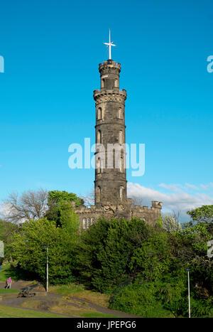 Calton Hill with Nelson Monument, Edinburgh, Scotland, United Kingdom - Stock Photo
