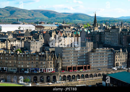 View from Calton Hill to old town, Edinburgh, Scotland, United Kingdom - Stock Photo