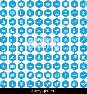 100 charity icons set blue - Stock Photo