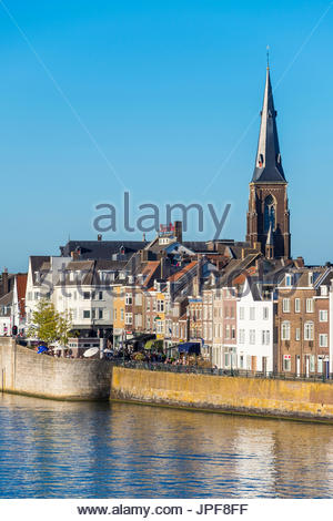 Netherlands, Limburg, Maastricht. Buildings along the Meuse (Maas) River in the Wyck-Ceramique quarter. - Stock Photo
