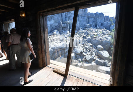 Leipzig, Germany. 1st Aug, 2017. Visitors admire the newly opened Himalayan landscape enclosure in the zoo in Leipzig, - Stock Photo