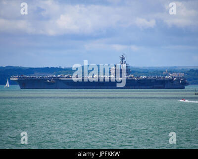 Portsmouth, Hampshire, UK. 01st Aug, 2017.  USS George H W Bush a Nimitz class, nuclear powered aircraft carrier - Stock Photo