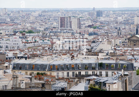 View over southern Paris from Montmartre, near Sacre-Coeur, Paris, France. - Stock Photo