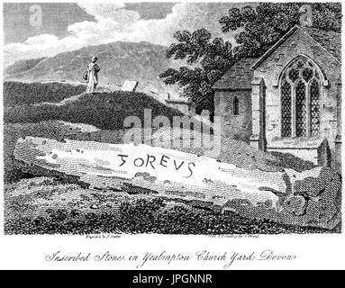 Engraving of an Inscribed Stone (Goreus Stone) in Yealmpton Church Yard, Devon scanned at high res from a book of - Stock Photo