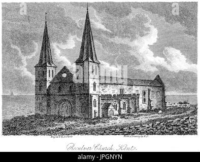 An engraving of Reculver Church, Kent scanned at high resolution from a book printed in 1808.  Believed copyright - Stock Photo