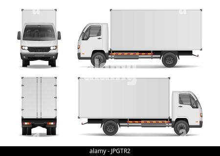 White realistic delivery cargo truck. Lorry for advertising side, front and rear view isolated on white background. - Stock Photo