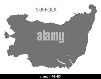 Suffolk county map England UK grey illustration silhouette shape - Stock Photo