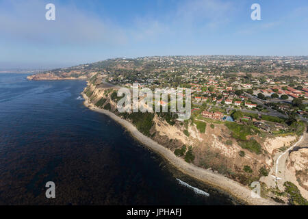 Southern California coast aerial view of Rancho Palos Verdes in Los Angeles County. - Stock Photo