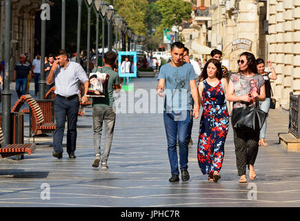 View of Nizami street in Baku, with people. - Stock Photo