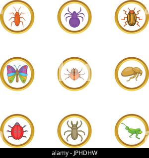 Different insects icons set, cartoon style - Stock Photo