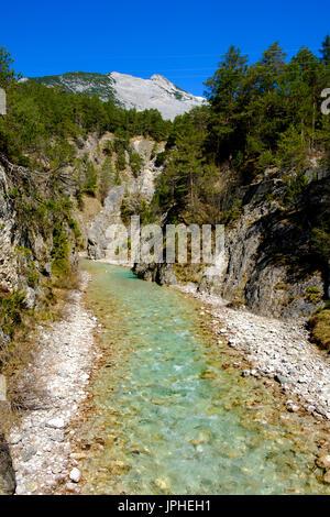 Karwendel gorge in the Hinterau valley, upper Isar, Isar valley near Scharnitz, Karwendel Mountains, Tyrol Austria - Stock Photo