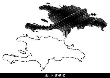 Hispaniola map vector illustration, scribble sketch  Hispaniola - Stock Photo