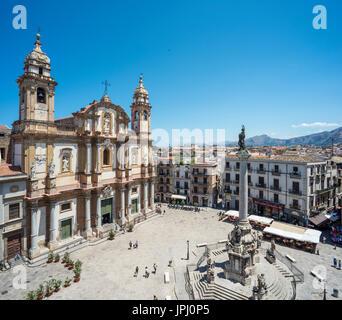 San Domenico church in the Piazza de San domenico, Central Palermo. - Stock Photo