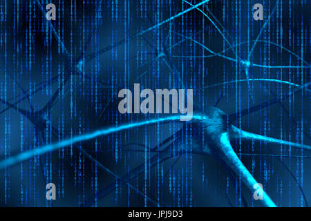 Artificial intelligence and deep learning technology concept. Blue binary coded background. 3d Rendering. - Stock Photo
