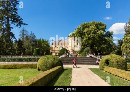 Buchlovice, Czech Republic, July 29, 2017: Baroque chateau Buchlovice, whose construction started before 1700. Opening - Stock Photo