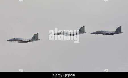 US Air Force F-15 Eagles taking part in the 70th Anniversary flypast at the Royal International Air Tattoo - Stock Photo