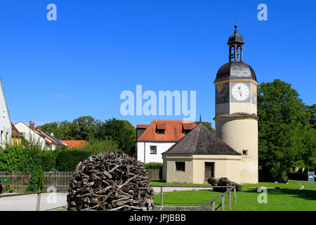 Clock Tower at the 6th castle yard, Burghausen Castle, Upper Bavaria, Bavaria, Germany, Europe - Stock Photo