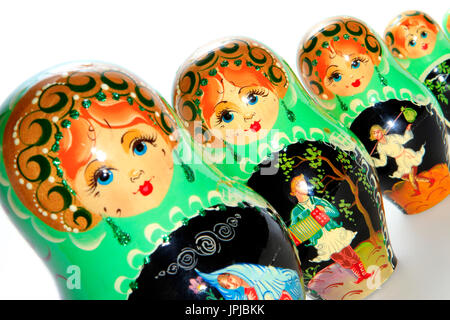 Russian matryoshka dolls, typical souvenir from Russia - Stock Photo