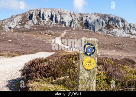 Isle of Anglesey Coastal Path and Cybi Circular Walk bilingual signs on a public footpath around Holyhead Mountain. - Stock Photo