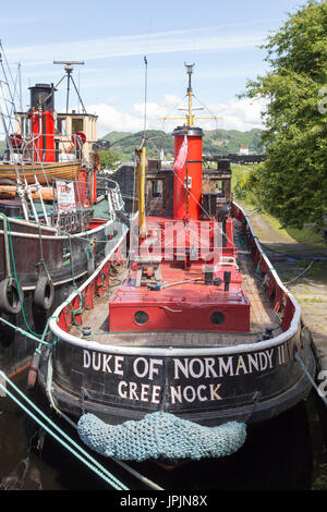 Clyde Puffer Vessels at Crinan The Crinan Canal, Argyll & Bute, West Coast of Scotland, United Kingdom - Stock Photo