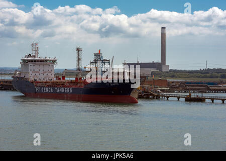 Fawley Power station and Calshot spit near Southampton - Stock Photo