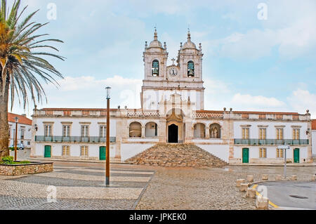 Cathedral of Our Lady of Nazare located on the hilltop of popular resort, in historic old district - Sitio, Nazare, - Stock Photo
