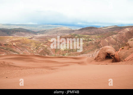 Colored mountains and sand dunes in Tupiza, Uyuni salt flats tour. Potosi, Bolivia, South America - Stock Photo