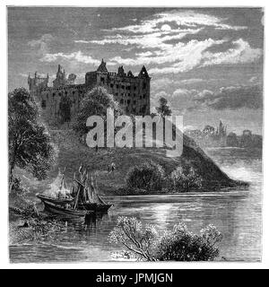 1870: Sailing boats drawn up on a promontory in Linlithgow Loch below Linlithgow Palace or castle. It was one of - Stock Photo