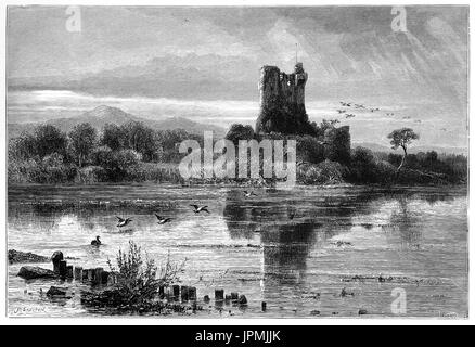 1870: The unrestored  Ross Castle, a 15th-century tower house and keep on the edge of Lough Leane. It is the ancestral - Stock Photo