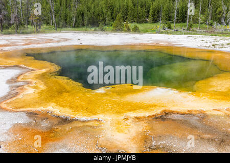 Emerald Pool hot springs at Black Sand Basin in Yellowstone National Park, Wyoming. - Stock Photo
