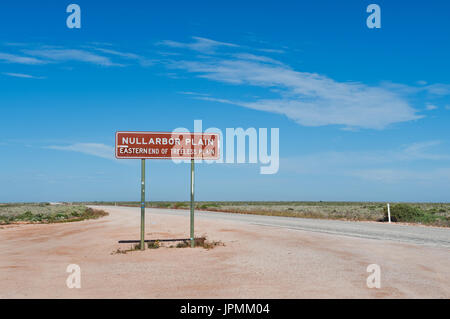 Road Sign shows the eastern end of the Nullarbor Plain. - Stock Photo