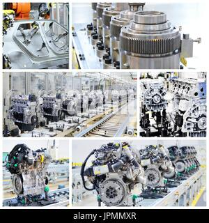 Collage of shots of the assembly line, engines and other parts in car factory. - Stock Photo