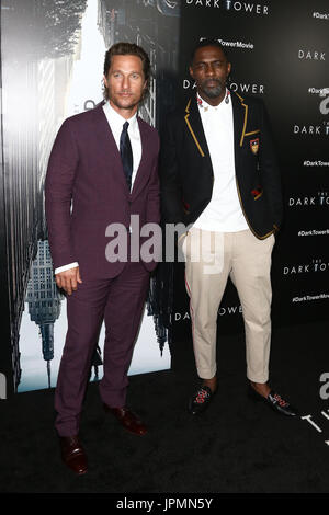 NEW YORK-JUL 31: Matthew McConaughey (L) and Idris Elba attend 'The Dark Tower' special screening at the Museum - Stock Photo