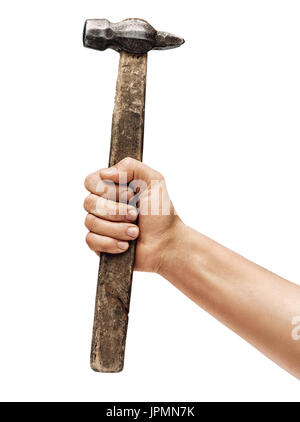 Man's hand holds a hammer isolated on white background. Close up. High resolution product - Stock Photo
