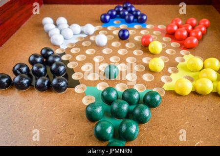 Closeup of  Chinese Checkers; useful for competition and strategy projects - Stock Photo