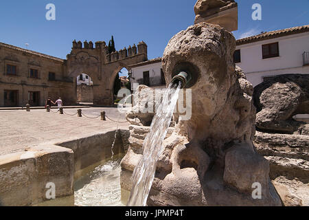 Fountain of the lions in the Plaza de Populo (also called Plaza los Leones), Baeza, Jaen Province, Andalusia, Spain - Stock Photo