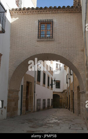 Typical Street of the world heritage city in Baeza, Street Barbacana next to the clock tower, It is characterized - Stock Photo