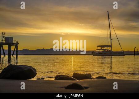 A golden evening at Port Nelson, Nelson, New Zealand - Stock Photo