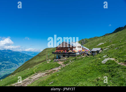 The Edel Hut mountain refuge above the resort town of Mayrhofen in the Zillertal Alps - Stock Photo
