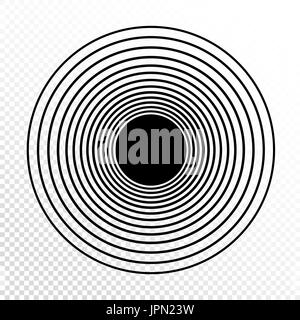 Concentric circles. Progressive line weight. Vector design element on transparent background. - Stock Photo