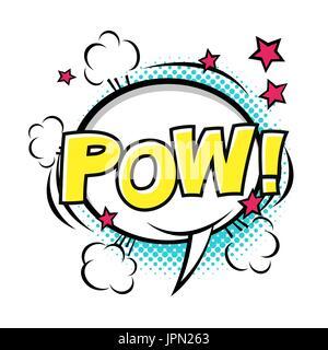 POW! Comic speech bubble, comic sound. Vector cartoon illustrations isolated on white background. Halftones, stars - Stock Photo