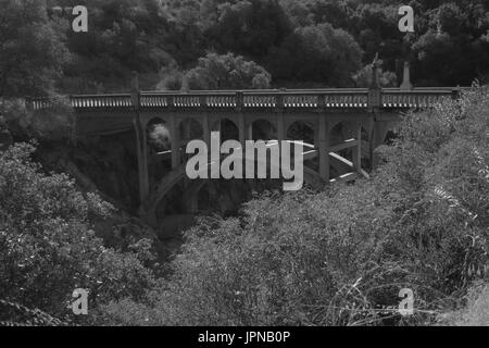 Century-old bridge over Kaweah River along Mineral King road, near Sequoia National Park, Three Rivers, Tulare County, - Stock Photo