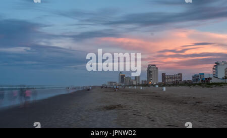 Long Exposure of South Padre Island Beach At Sunset - Stock Photo