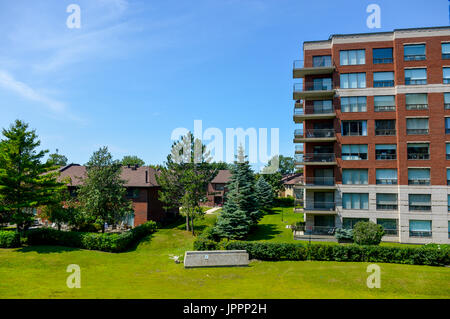 Expensive Condo buildings in Montreal (Cote Saint-Luc), Canada - Stock Photo