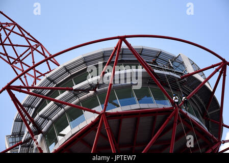 Abseiling from ArcelorMittal Orbit by Wire & Sky. Queen Elizabeth Olympic Park, Stratford, London, UK. Activity - Stock Photo