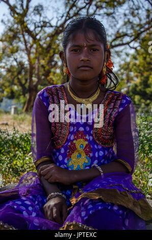 Portrait of a young Indian girl, Hampi, Karnataka, India - Stock Photo