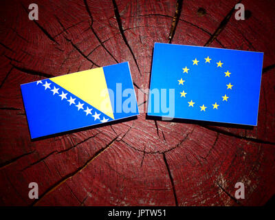 Bosnia and Herzegovina flag with EU flag on a tree stump isolated - Stock Photo