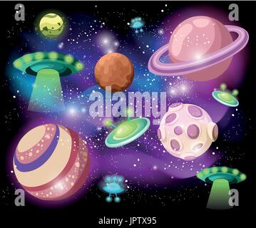 Flying Saucer, Spaceship And UFO Set Illustration of a set of cartoon funny UFO, unidentified spaceship and spacecrafts - Stock Photo